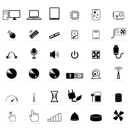 Computer device icon set Vector