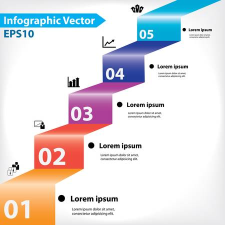step ladder: Colorful vector design for workflow layout, diagram, number options, web design, infographics