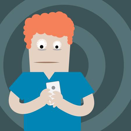 Eye popping red hair man with smartphone in hand Vector