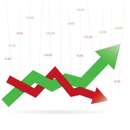 Stock profit and loss graph for diagram, number options, web design, infographics Vector Illustration