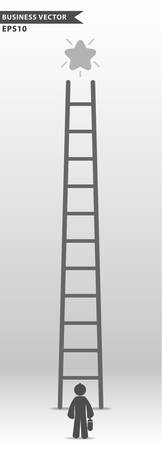 promote: Business man looking over promote star at top of ladder, Business concept, Vector illustration EPS10