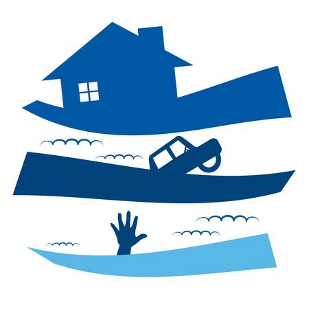 incendio casa: Icono Inundaci�n ilustraci�n vectorial Vectores