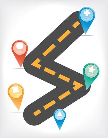 route map: Colorful vector design for workflow layout, diagram, number options, web design, infographics