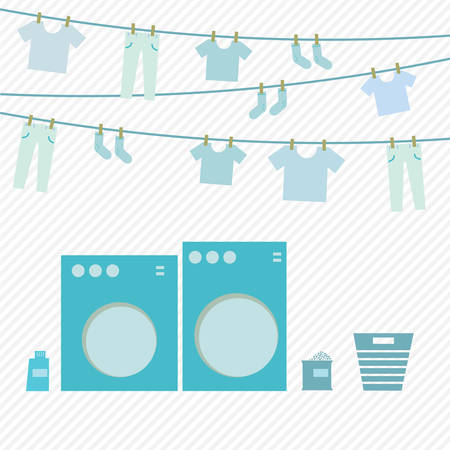 shirts on hangers: Washing day, flat vector design Illustration