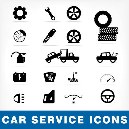 overheat: Car service icons set
