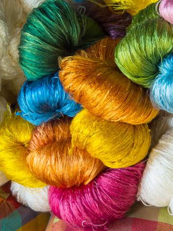 thailand silk: colorful raw silk