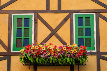 Colorful building with flower decoration photo