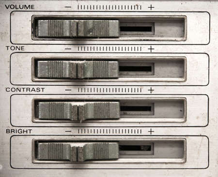 Analog tv control panel with volume,tone,contrast,brightness control slider Stock Photo - 25887157