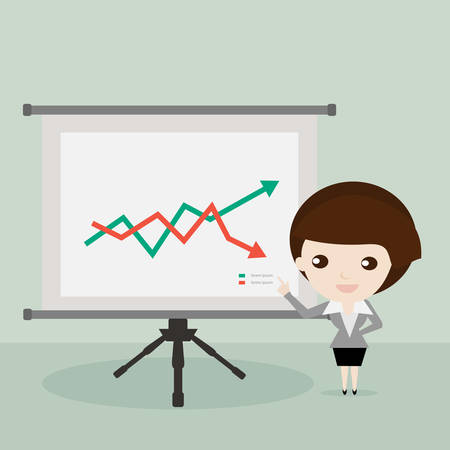 stock graph: Businesswoman presenting stock graph on screen,Vector cartoon can use for diagram, number options, web design, presentation template, infographics