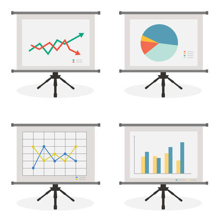 Presentation screen with stock, pie, line and bar chart for diagram, number options, web design, presentation template, infographics  Illustration