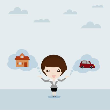soñar carro: Sueño para el coche y la casa, la mujer de negocios exhibición de autos y la casa en la burbuja nube Mobiliaria y Propiedad, concepto de negocios de dibujos animados Vectores
