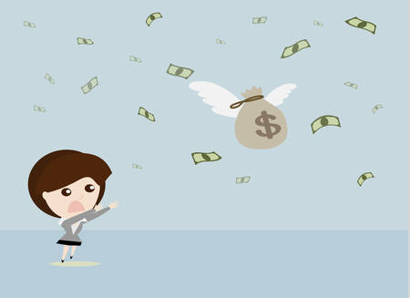 mosca caricatura: Fly away dinero, la mujer de negocios dirigido a la captura de moscas bolsa de dinero, vector de negocios de dibujos animados