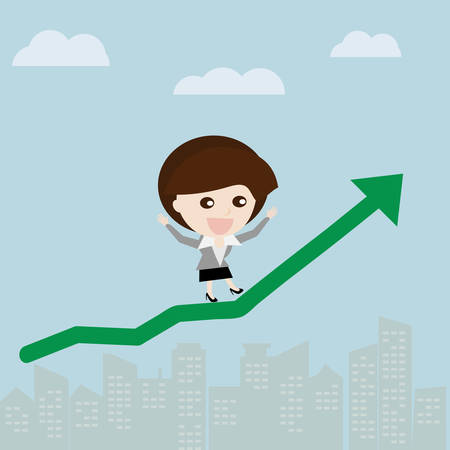 financial gains: Profit gain, Business woman walk up on the sky with green stock arrow, Business concept cartoon