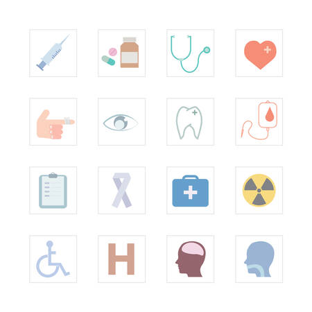 injured person: Medical icons set