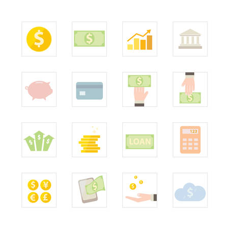 Finance and Banking icon set  Designed for illustration, infographics, web icon, report, presentation, template and more in your business