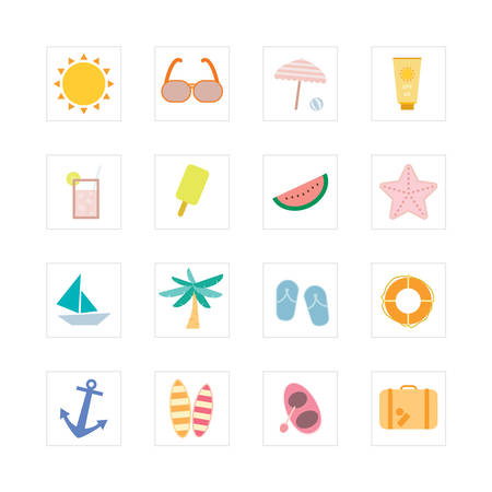 Summer icon set  Designed for illustration, infographics, web icon, report, presentation, template and more in your business Illustration