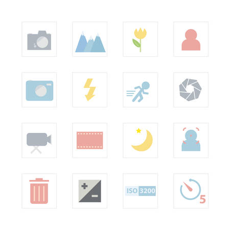 evaluative: Camera menu icon set  Designed for illustration, infographics, web icon, report, presentation, template and more in your business