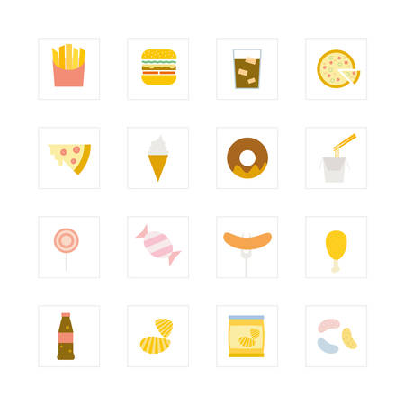 Junk food icon set  Designed for illustration, infographics, web icon, report, presentation, template and more in your business Vector