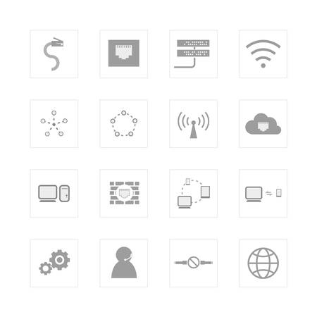 rj45: Computer Network and communication icon set