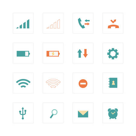 miss call: Mobile phone primary icons  Illustration