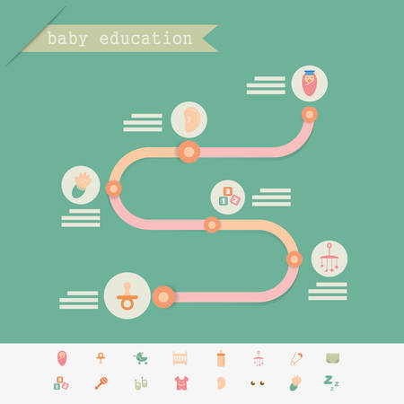 Baby education infographics and icon  Colorful  Vector