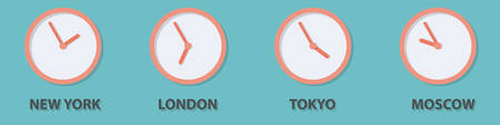 timezone: World time zone clock in New York, London, Tokyo, Moscow