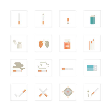 Cigarette icons set. Designed for illustration, infographics, web icon, report, presentation, template and more in your business Illustration