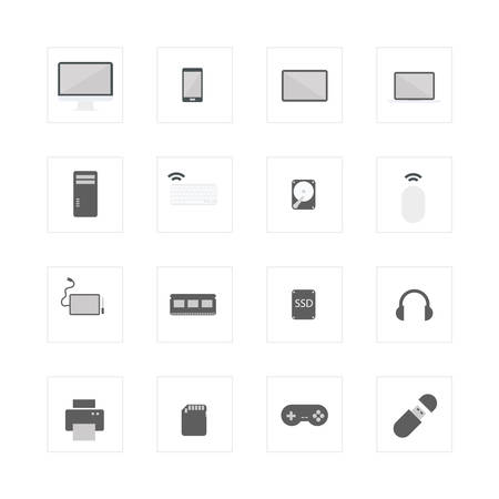 solid state drive: Computer device icons set.Designed for illustration, infographics, web icon, report, presentation, template and more in your business