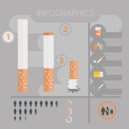 cigarette smoke: Cigarettes infographics. World No Tobacco Day Illustration