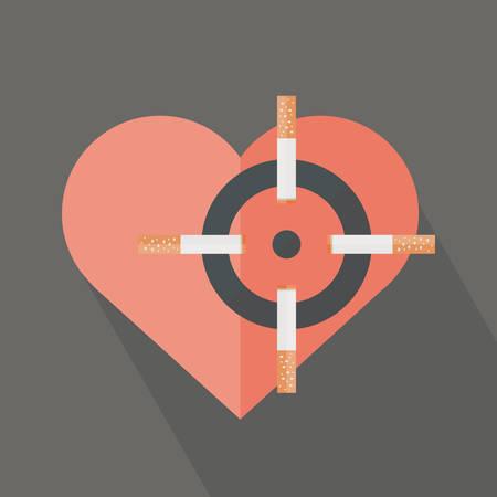 Hearth attack by cigarettes smoking. Conceptual vector design