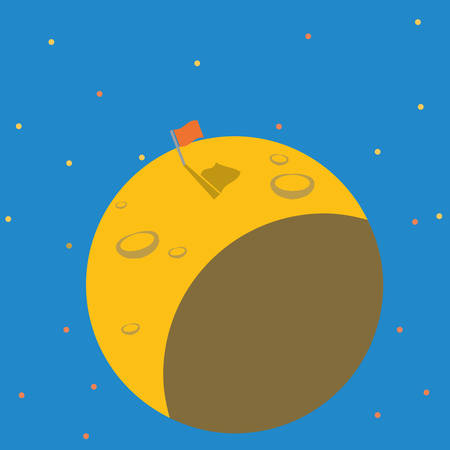 meteor crater: Successful mission to flagged on the planet. Flat vector illustration design Illustration