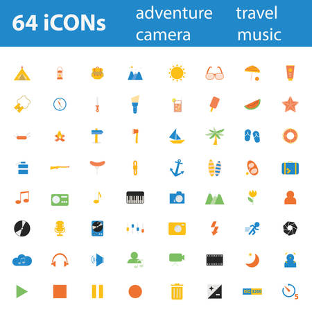 64 Quality design modern vector illustration icons set. As Adventure icon, Camping icon, Travel icon, Summer icon, Beach icon, Music icon, Camera icon, Leisure icon. Vector