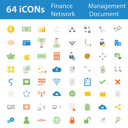 64 Quality design modern vector illustration icons set. As finance icon,money icon,banking icon,man management icon,organisation icon,office icon,businessman icon, Computer network icon,Document icon. Vector