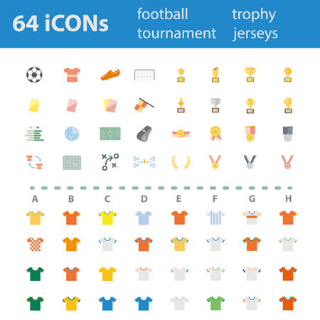 64 Quality design modern vector illustration icons set. As football icon, soccer icon, match icon,trophy icon,medal icon, and vary of team jersey icon. Vector