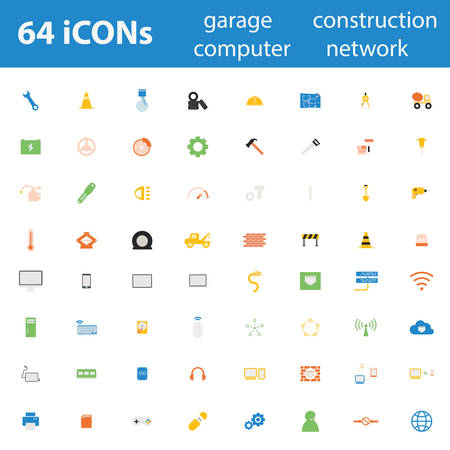 brake pad: 64 Quality design modern vector illustration icons set.As garage tool icon, Car icon, engineering icon, construction icon, computer device icon, gadget icon, Computer network icon, Connection icon.