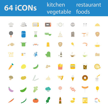 64 Quality design modern vector illustration icons set. As Kitchen utensil icon. Equipment icon, Restaurant icon, Dinner icon, Food icon, Vegetable icon, Recipe icon, Snack icon,Junk food icon.  Vector