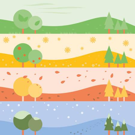 Four Season banner background as Spring, Summer, Autumn, Winter. Vector illustration design. Vector