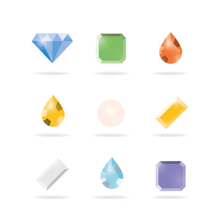 Set of colored gems isolated on white background, Vector illustration design. Vector