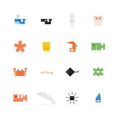 Pixel marine animal icon. Simple vector design. Vector