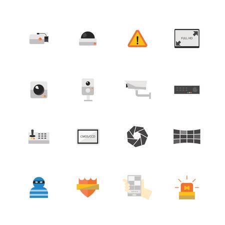 definicion: Cámara de seguridad CCTV o icono conjunto, ilustración vectorial de diseño. Vectores