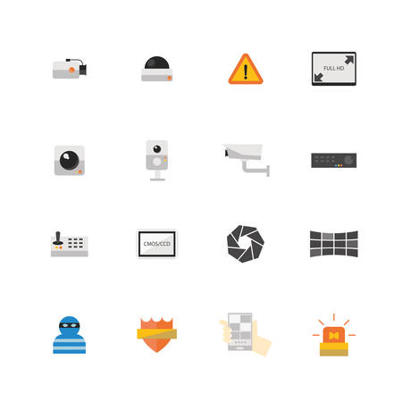 definitions: Security camera or CCTV icon set, Vector illustration design.
