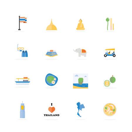Thailand Beroemde Tours Activiteiten pictogram, Vector illustratie ontwerp Stock Illustratie