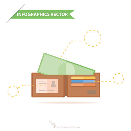 wallet: Money in wallet flat vector design for business and finance infographics