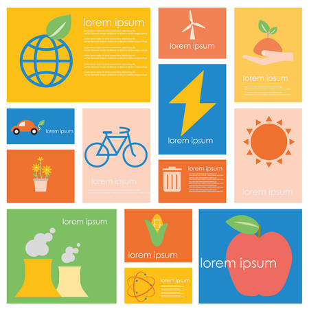 car clean: Ecology energy and Power conservation science set.Flat vector retro design .