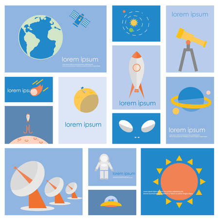 major: Astronomy science and space icon set. Flat vector retro design .