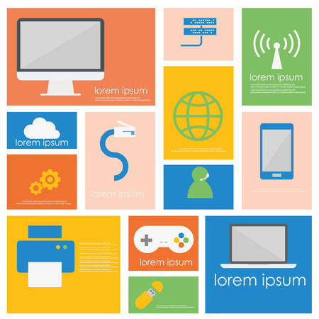 storage device: Computer network connection and smart device icon set.Flat vector retro design . Illustration