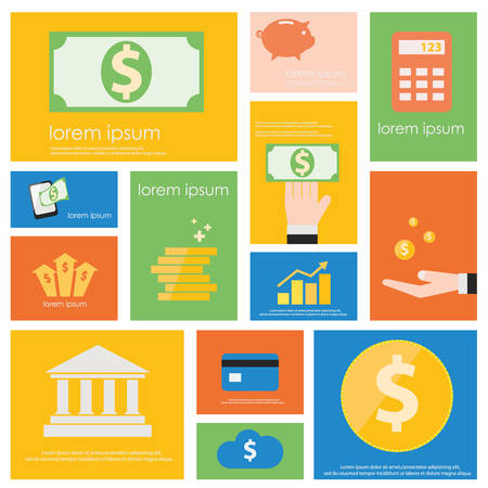 web banking: Finance and Banking icon set.  Flat vector retro design .
