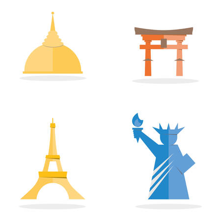 iconic architecture: Four famous landmark icon of Thai temple, Japan Grand Gate, France Eiffel Tower, USA Lady Liberty. Flat vector design.