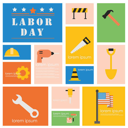 International Labor day and Industry tool icon set.Flat vector retro design .