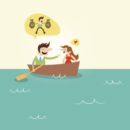 boast: Couple chatting on boat. Vintage cartoon business vector design. Illustration